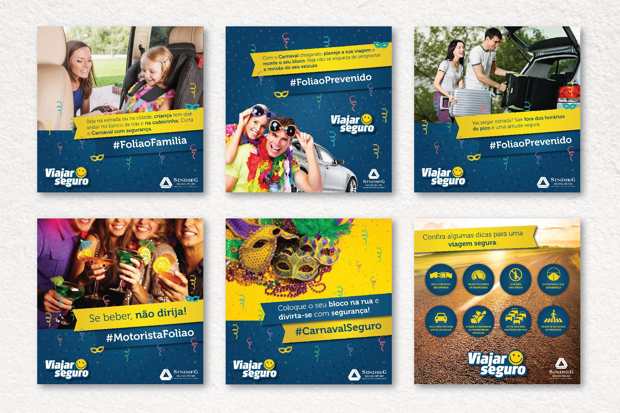 Peças da campanha Viajar Seguro postadas no Facebook do Sindseg