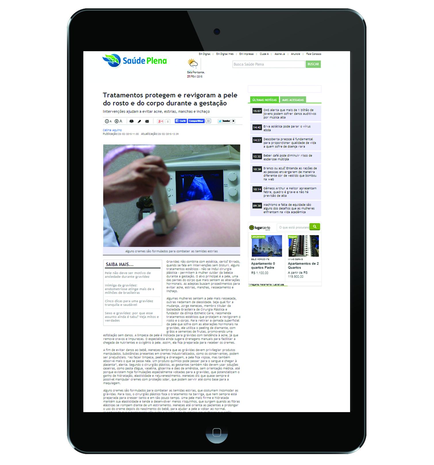 Assessoria de imprensa da Esthetic Care garante matéria no Portal Uai
